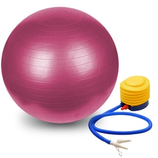 Yoga Exercise Fitness Pilates Pink 75-cm Burst-resistant Stability Ball With Pump