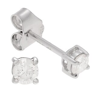 Journee Collection Sterling Silver 1/4ct TDW Diamond Round-cut Stud Earrings