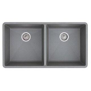Blanco Prcis Metallic Grey Granite 16-inch Equal Double Bowl Sink