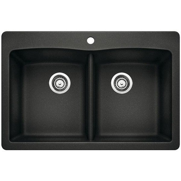 Blanco Vs Franke Sinks : Blanco Diamond Silgranit II Black Granite Double-bowl Undermount Sink ...