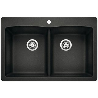 Blanco Diamond Silgranit II Black Granite Double-bowl Undermount Sink