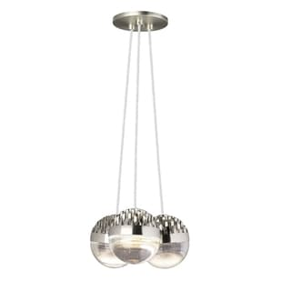 LBL Sphere 3 Light Satin Nickel and Cast Clear Suspension