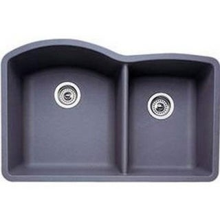 Blanco Diamond Silgranit II Metallic Grey Granite 1.75 Double-basin Sink