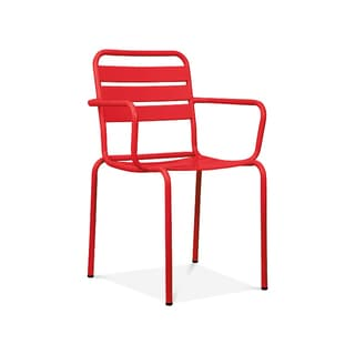 Paris Red Metal 4-piece Stackable Arm Chair Set