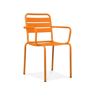 Paris Orange Metal Set of 4 Stackable Arm Chairs