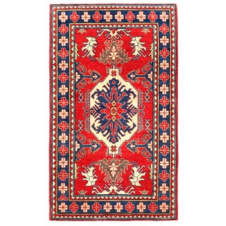 Herat Oriental Afghan Hand-knotted Kazak Red/ Navy Wool Rug (3'5 x 5'8)