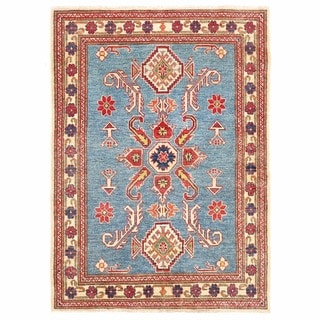 Herat Oriental Afghan Hand-knotted Kazak Light Blue/ Ivory Wool Rug (3'7 x 5')