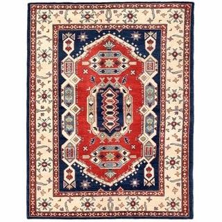 Herat Oriental Afghan Hand-knotted Kazak Navy/ Ivory Wool Rug (5'1 x 6'7)