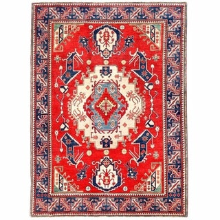 Herat Oriental Afghan Hand-knotted Kazak Red/ Navy Wool Rug (6'1 x 8'5)