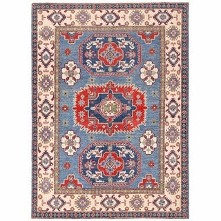 Herat Oriental Afghan Hand-knotted Kazak Blue/ Ivory Wool Rug (5'7 x 7'9)