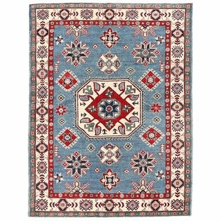 Herat Oriental Afghan Hand-knotted Kazak Light Blue/ Ivory Wool Rug (5'1 x 6'8)