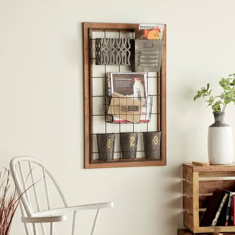 Metal Wood Wall Storage For Home Decor - Brown