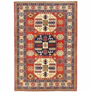 Herat Oriental Afghan Hand-knotted Kazak Rust/ Ivory Wool Rug (4'9 x 7'2)