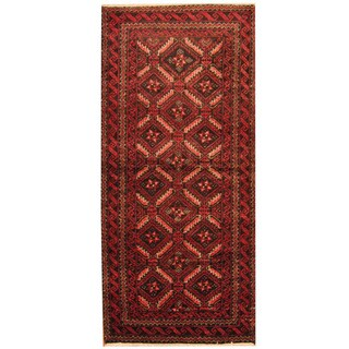 Herat Oriental Persian Hand-knotted Tribal 1960s Semi-antique Balouch Wool Area Rug (3' x 6'2)