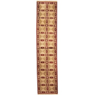 Herat Oriental Indo Hand-knotted Aubusson Red/ Ivory Wool Area Rug (2'6 x 11'6)