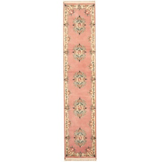 Herat Oriental Indo Hand-knotted Aubusson Rose/ Ivory Wool Area Rug (2'6 x 12')