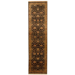 Herat Oriental Indo Hand-knotted Mahal Black/ Gold Wool Area Rug (2'7 x 10')