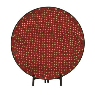 Superb Metal Red Mosaic Platter with Easel