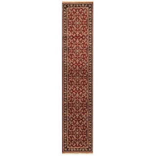 Herat Oriental Indo Hand-knotted Kashan Light Blue/ Red Wool Area Rug (2'6 x 11'10)