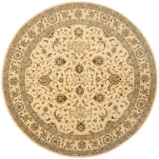 Herat Oriental Indo Hand-tufted Tabriz Gold/ Green Wool & Silk Area Rug (8' Round)