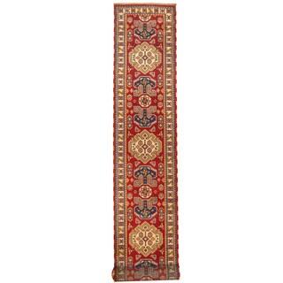 Herat Oriental Indo Hand-knotted Kazak Red/ Ivory Wool Runner (2'9 x 20)