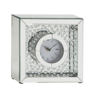 Classy Wood Mirror Table Clock 10 inches wide x 10 inches high