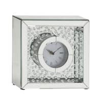 Silver Orchid Olivia Classy Wood Mirror Table Clock 10 inches wide x 10 inches high