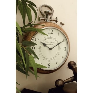 Wood Metal Wall Clock 10 inches wide x 14 inches high
