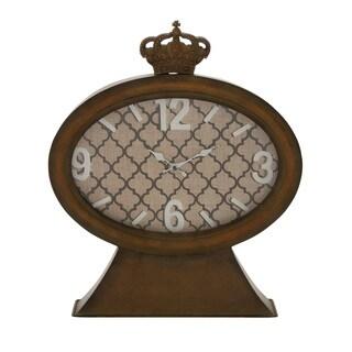 Vintage Themed Metal Wood Table Clock