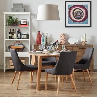 MID-CENTURY LIVING Sasha Oak Angled Leg Round 5-piece Dining Set