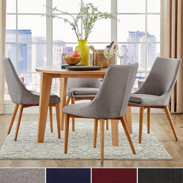 sasha oak angled leg round 5 piece dining set inspire q modern free shipping today overstock. Black Bedroom Furniture Sets. Home Design Ideas