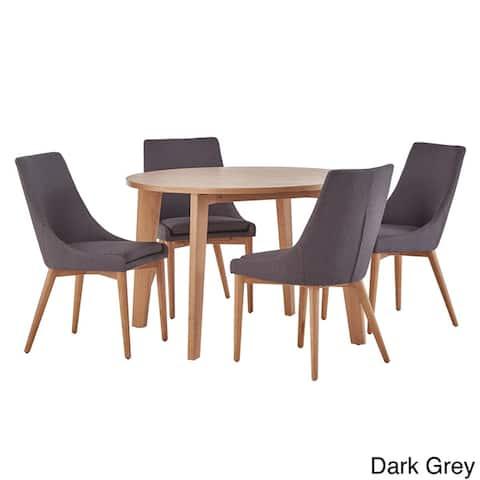 Sasha Oak Angled Leg Round 5-piece Dining Set iNSPIRE Q Modern