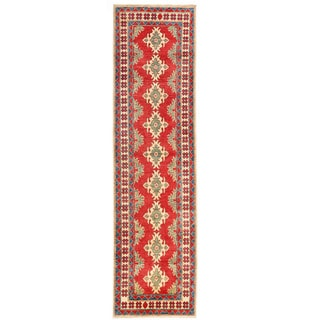 Handmade One-of-a-Kind Kazak Wool Runner (Afghanistan) - 2'9 x 10'3