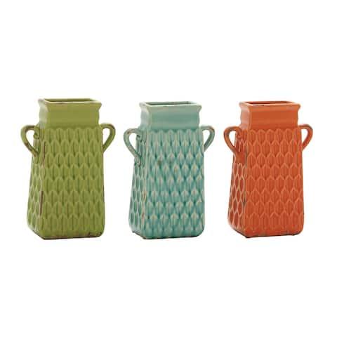 The Curated Nomad Bimini Multicolored Ceramic Vase (Set of 3)
