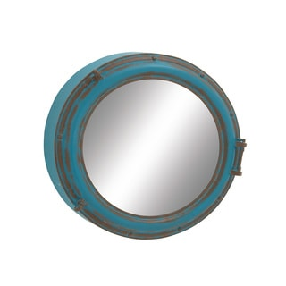 Round Wood Metal Wall Mirror 24 inches deep