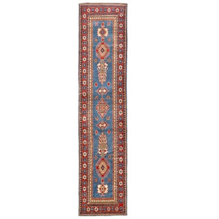 Herat Oriental Afghan Hand-knotted Kazak Blue/ Red Wool Runner (2'8 x 12')