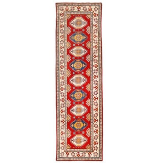 Herat Oriental Afghan Hand-knotted Kazak Red/ Ivory Wool Runner (2'10 x 9'10)