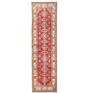 Herat Oriental Afghan Hand-knotted Kazak Red/ Ivory Wool Runner (2'8 x 9'8)