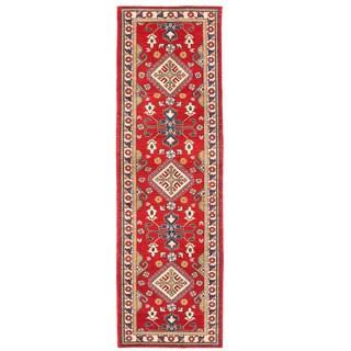 Herat Oriental Afghan Hand-knotted Kazak Red/ Ivory Wool Runner (2'9 x 9'3)