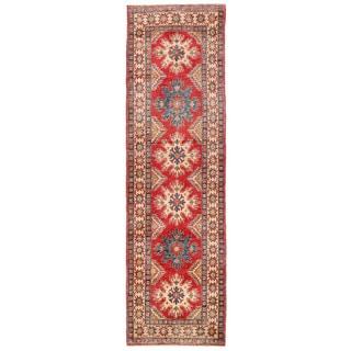 Herat Oriental Afghan Hand-knotted Kazak Red/ Ivory Wool Runner (2'9 x 9'8)