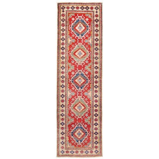Herat Oriental Afghan Hand-knotted Kazak Red/ Ivory Wool Runner (2'8 x 9')