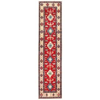 Herat Oriental Afghan Hand-knotted Kazak Red/ Ivory Wool Runner (2'9 x 11'5)