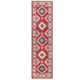 Herat Oriental Afghan Hand-knotted Kazak Red/ Ivory Wool Runner (2'7 x 9'7)