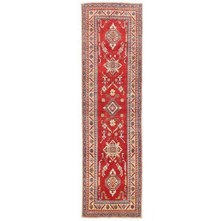 Herat Oriental Afghan Hand-knotted Kazak Red/ Ivory Wool Runner (2'11 x 10'7)