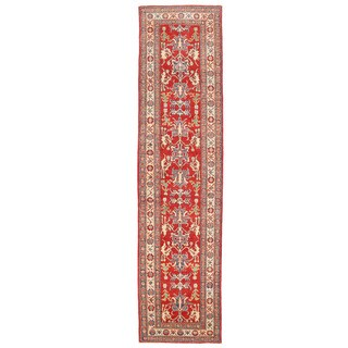 Herat Oriental Afghan Hand-knotted Kazak Red/ Ivory Wool Runner (2'8 x 11'2)