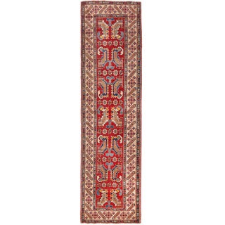 Herat Oriental Afghan Hand-knotted Kazak Red/ Ivory Wool Runner (2'8 x 10'1)