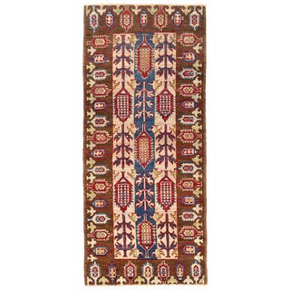 Herat Oriental Afghan Hand-knotted Kazak Ivory/ Brown Wool Rug (2'2 x 5'2)