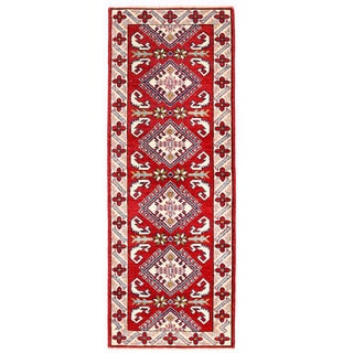 Herat Oriental Afghan Hand-knotted Kazak Red/ Ivory Wool Rug (2'1 x 5'9)
