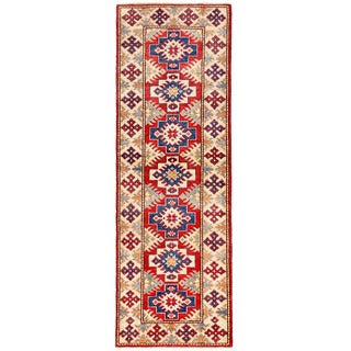 Herat Oriental Afghan Hand-knotted Kazak Red/ Ivory Wool Rug (2' x 5'11)