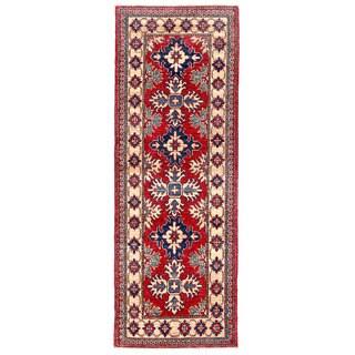 Herat Oriental Afghan Hand-knotted Kazak Red/ Ivory Wool Runner (2'1 x 5'10)